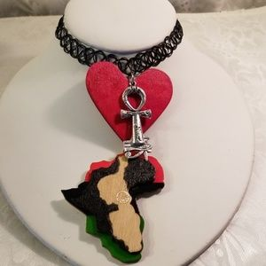 Jewelry - Black simulated tattoo heart and map of Africa